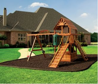 Brown Rubber Mulch on Playground
